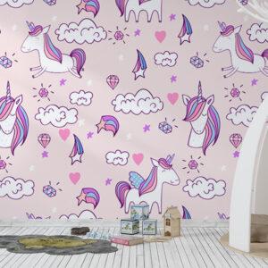 Fototapet-pentru-copii-Pastel-Unicorns