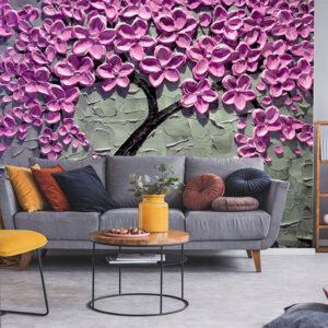 Fototapet-3D-copac-abstract-cu-flori