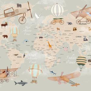 Fototapet-pentru-copii-Animals-World-Map (2)