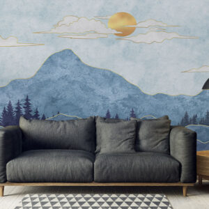 Fototapet-Mural-Silhouettes-of-Mountains