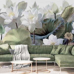 Fototapet-Mural-White-Lotus-Flowers